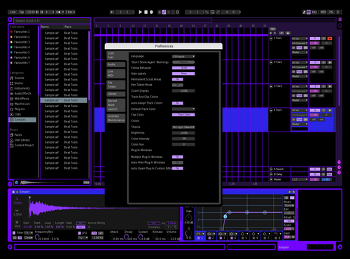 Black & Purple Theme for Ableton 10 by Sonexos