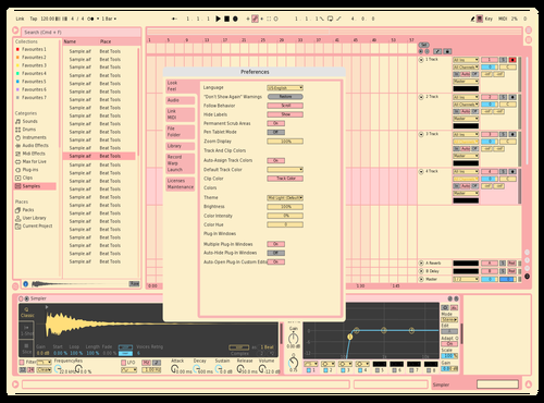 Lemon pink Theme for Ableton 10 by Noa Giom