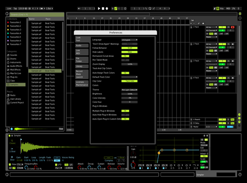 Dark Lime V1 Theme for Ableton 10 by Klangmaster