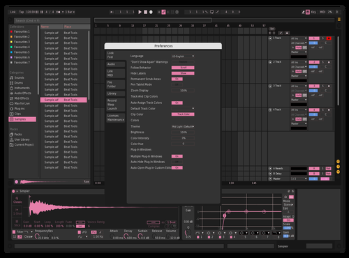 Slightly Pink Theme for Ableton 10 by Emma