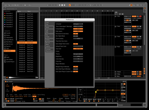 Dark Orange White Gridlines Theme for Ableton 10 by manish