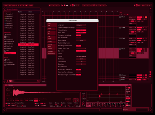 Dark Red edited Theme for Ableton 10 by Taozi98