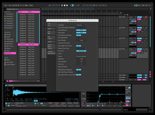 Dark Powder Blue Pink Theme for Ableton 10 by Paul Matthew