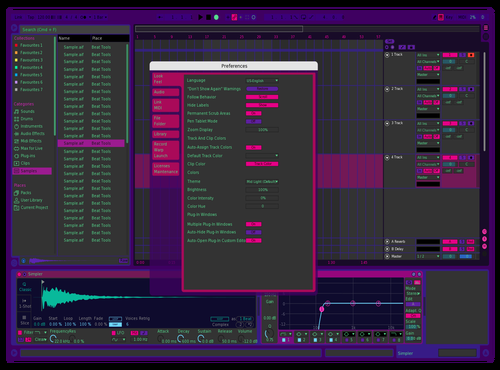 Cyberpunnk middark and blue waveform Theme for Ableton 10 by milou