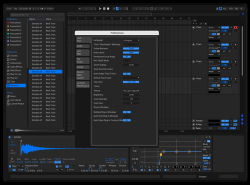 Dark blue Theme for Ableton 10 by Fernando Ponce