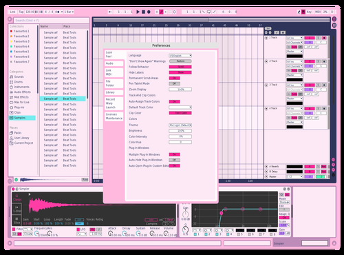 PinkWater Theme for Ableton 10 by Ryuya