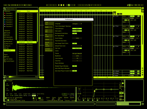 CMD Cyberpunk (Neon Green) Theme for Ableton 10 by deathblade