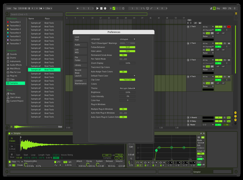 My green black Theme for Ableton 10 by Mateus Gonçalves