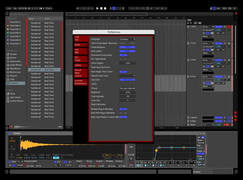 RED/BLUE/DARK Theme for Ableton 10 by Logan Kaye