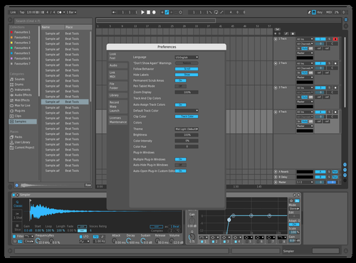 Mid Dark Blue accents Theme for Ableton 10 by Joonas Tyni