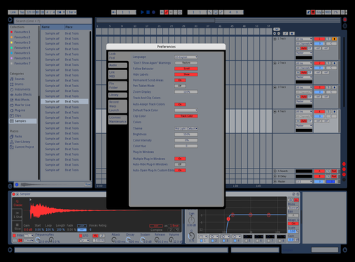 Blue with Red Theme for Ableton 10 by Davey