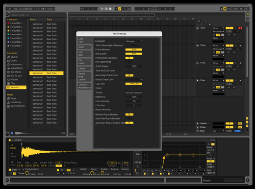 Yellow night Theme for Ableton 10 by Ben