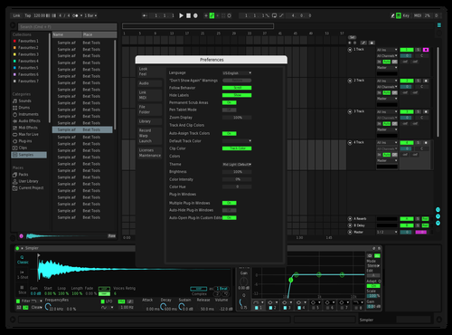 Dark BlueGreenPink Theme for Ableton 10 by Devin A Collins