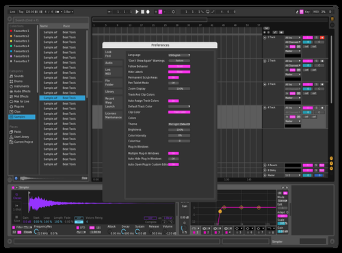 Dark Pink Theme for Ableton 10 by Sypex