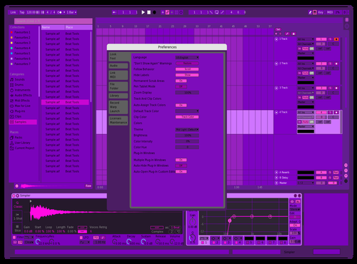 Exploring a color [violet] Theme for Ableton 10 by Andrew Kasi