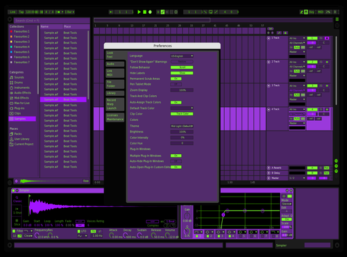Dark Purple w Green Theme for Ableton 10 by kevin lechner