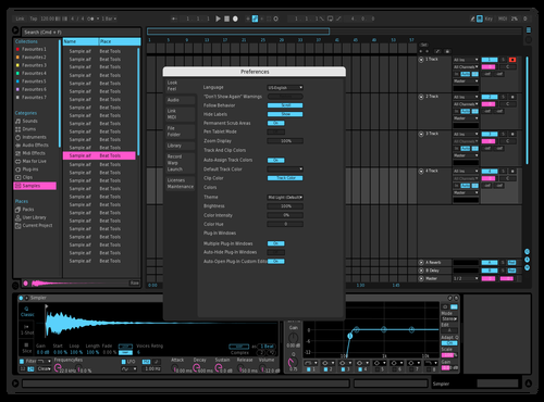 Extra Dark Powder Blue Pink Theme for Ableton 10 by Paul Matthew