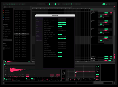 Neon  - Pink Green Theme for Ableton 10