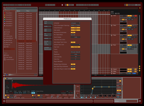CRIMSON~STEEL Theme for Ableton 10 by Donald Gordon