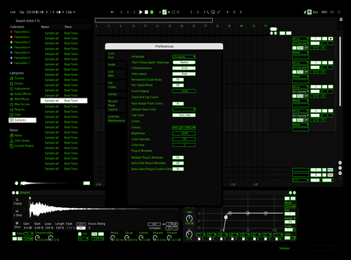Green dark Theme for Ableton 10 by Cristol