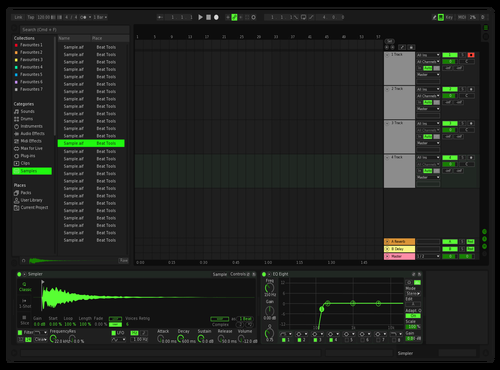 Kodebar Dark Green Theme for Ableton 10 by Domenico Caminiti