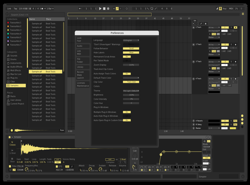 Yellow Dark Theme for Ableton 10 by slice