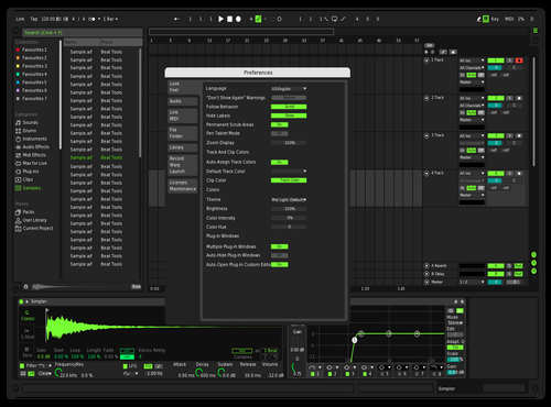 Dark green futur andronix Theme for Ableton 10 by andronix