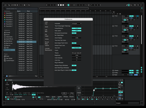 Dark cyan and white Theme for Ableton 10 by Reaver