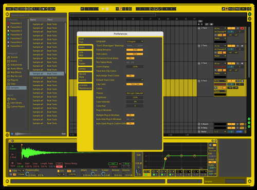 Yellow Theme for Ableton 10 by Phill