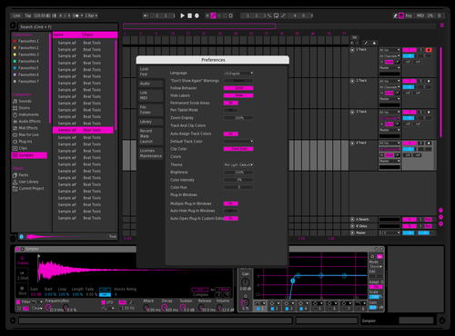 Hot Pink Theme for Ableton 10 by Paul Matthew