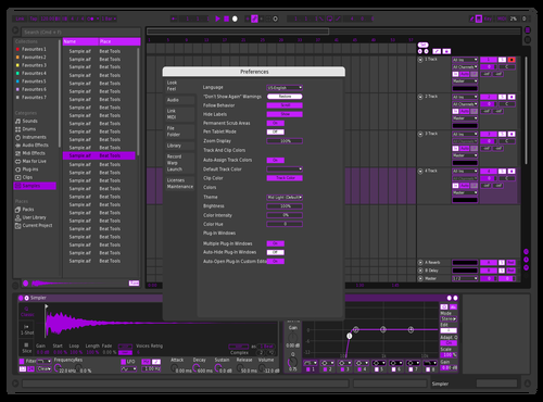 PURPLE Theme for Ableton 10 by Justin