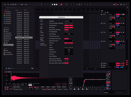 SuperDark Pink Tad lighter Theme for Ableton 10 by Reaver