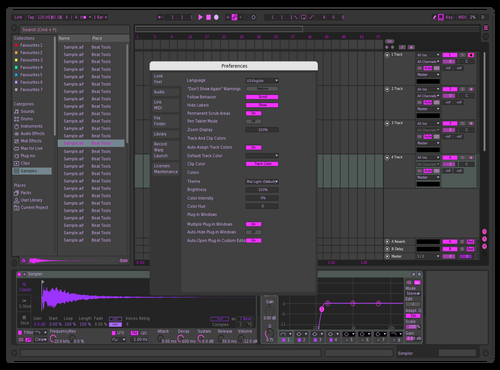 Futurist purple andronix Theme for Ableton 10 by andronix