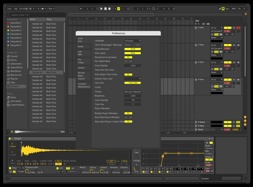 Yellow Proper Theme for Ableton 10 by Nikita Katilis