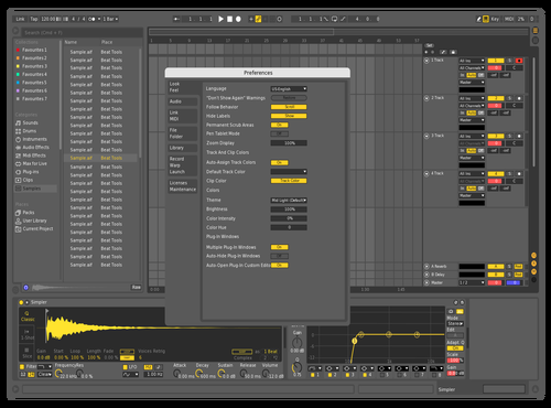 Yellow Dark Theme for Ableton 10 by Nikita Katilis