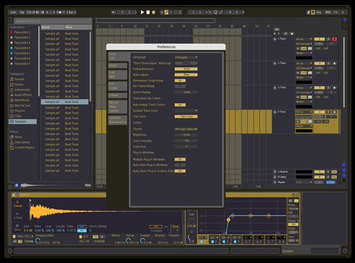 Blue and gold Theme for Ableton 10 by Luso