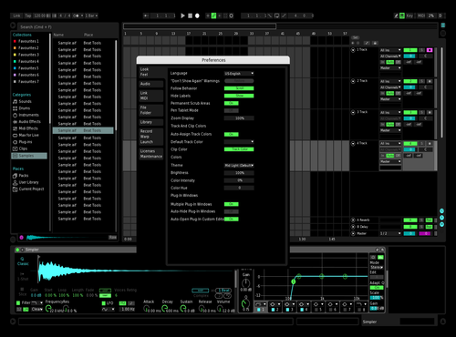 BlueGreenPinkBlack Theme for Ableton 10 by Devin A Collins
