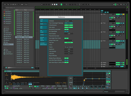 Green and blue Theme for Ableton 10 by Thayná Maffei
