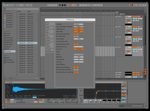 Mid Dark Blue and Orange Theme for Ableton 10 by Kamahllionaire
