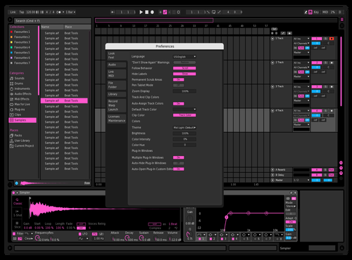 Extreme Dark Pink Theme for Ableton 10 by Paul Matthew