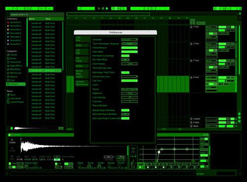 Black Green Theme for Ableton 10 by Anthony Anderson