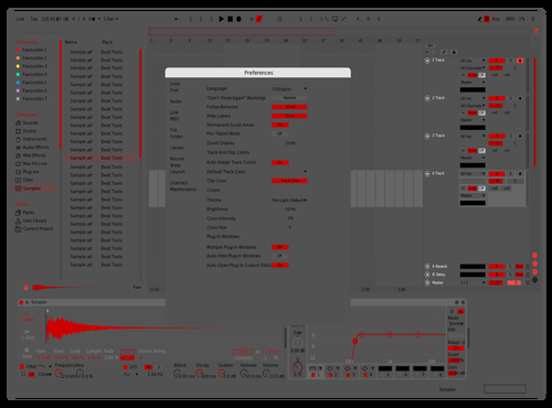 Red 000 Theme for Ableton 10 by jorge miguel