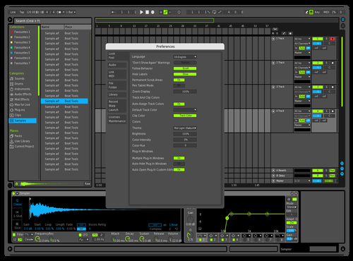 Mid Dark Blue Lime Theme for Ableton 10 by Paul Matthew