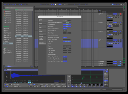 Simpledarkblu Theme for Ableton 10 by Ryan Lee