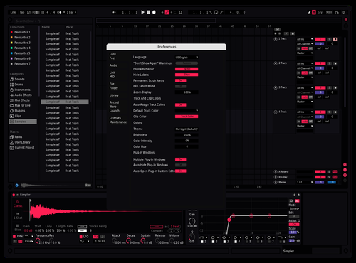 SuperDark Pink Theme for Ableton 10 by Not Reaver alt