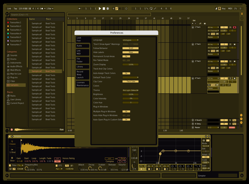Bold Gold Theme for Ableton 10 by Vladik