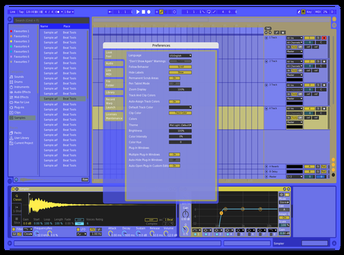 Blue and yellow Theme for Ableton 10 by simrhyddim
