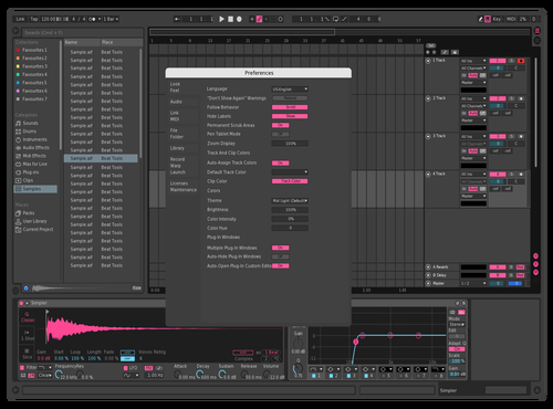 Pink & Blue [Dark] Theme for Ableton 10 by Daniel