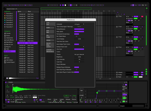 Purplegreen soft Theme for Ableton 10 by Baptiste