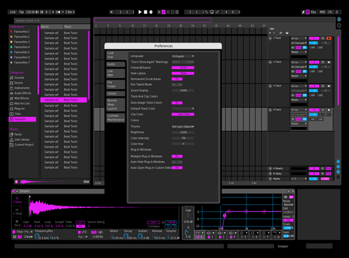 Night Mode Purple Theme for Ableton 10 by Paul Matthew